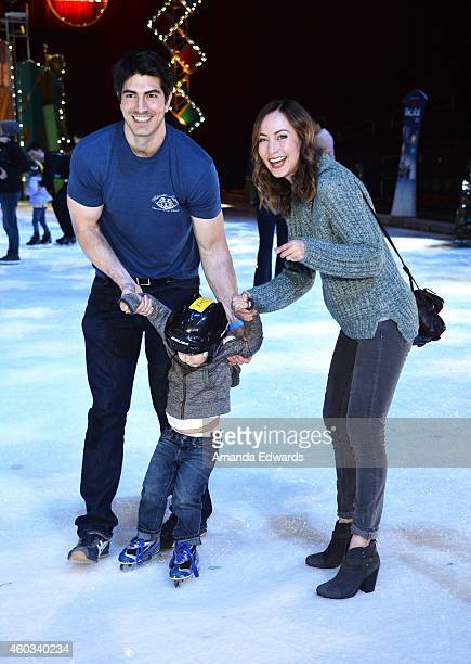 Actor Brandon Routh actress Courtney Ford and their son Leo James Routh attend the Disney On Ice Presents Let's Celebrate event at Staples Center on...