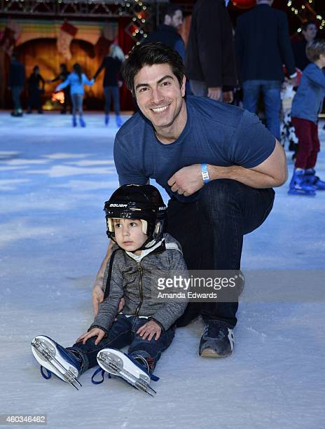Actor Brandon Routh and his son Leo James Routh attend the Disney On Ice Presents Let's Celebrate event at Staples Center on December 11 2014 in Los...