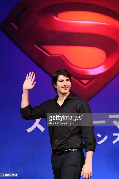 Actor Brandon Routh poses during a news conference for their film Superman Returnsat a Tokyo hotel on August 1 2006 in Tokyo Japan The film will open...