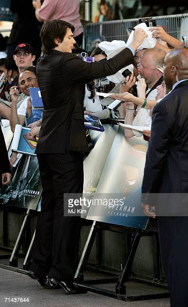 Actor Brandon Routh signs autographs as he arrives at the UK premiere of Superman Returns held at the Odeon Leicester Square on July 13 2006 in...