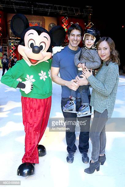 Actor Brandon Routh son Leo James Routh and Actress Courtney Ford attend Disney On Ice Presents Let's Celebrate Presented By Stonyfield YoKids...