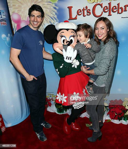 Actor Brandon Routh son Leo James Routh and wife actress Courtney Ford attend Disney On Ice presents Let's Celebrate at Staples Center on December 11...