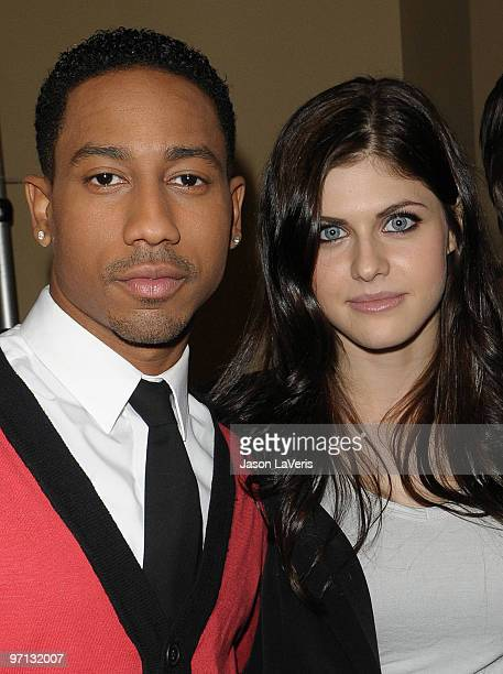 Actor Brandon T Jackson and actress Alexandra Daddario attend the 'Percy Jackson The Olympians The Lightning Thief' cast appearance at Hot Topic on...