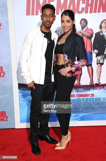 Actor Brandon T Jackson and actress Denise Xavier attend the premiere of 'Hot Tub Time Machine 2' at Regency Village Theatre on February 18 2015 in...