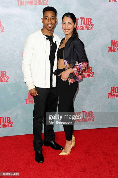Actor Brandon T Jackson and Denise Marie Xavier arrive at the Los Angeles premiere of Hot Tub Time Machine 2 at Regency Village Theatre on February...