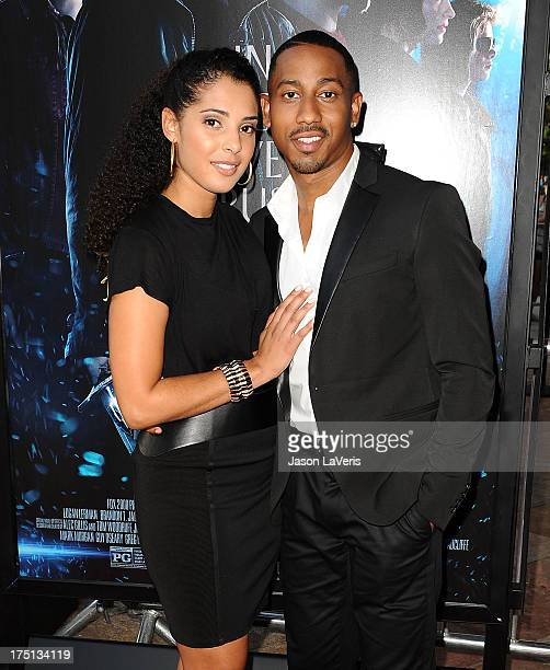 Actor Brandon T Jackson and Denise Marie Xavier attend the premiere of Percy Jackson Sea Of Monsters at The Americana at Brand on July 31 2013 in...
