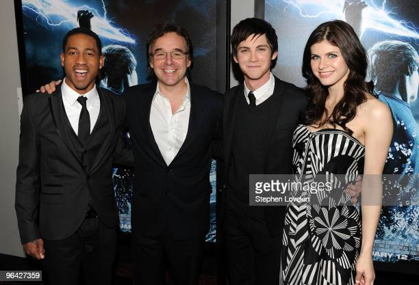 Actor Brandon T Jackson director Chris Columbus actor Logan Lerman and actress Alexandra Daddario attend the premiere of 'Percy Jackson The Olympians...