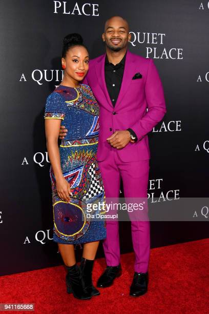 Actor Brandon Victor Dixon and guest attend the 'A Quiet Place' New York Premiere at AMC Lincoln Square Theater on April 2 2018 in New York City