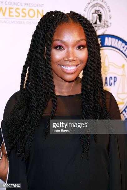 Actor Brandy Norwood attends the 27th Annual NAACP Theatre Awards at Millennium Biltmore Hotel on February 26 2018 in Los Angeles California