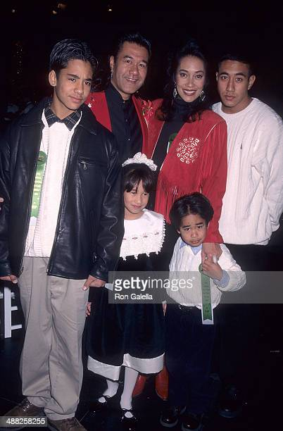 Actor Branscombe Richmond, wife Lei and their children attend the 65th Annual Hollywood Christmas Parade on December 1, 1996 at KTLA Studios in...