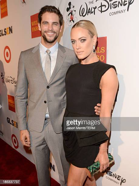 Actor Brant Daugherty and dancer Peta Murgatroyd arrive at the 9th Annual GLSEN Respect Awards at Beverly Hills Hotel on October 18 2013 in Beverly...