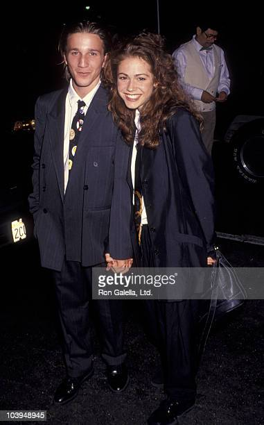 Actor Breckin Meyer and actress Lisa Rieffel attend ABC Affiliates Party on June 3 1992 at the Century Plaza Hotel in Century City California