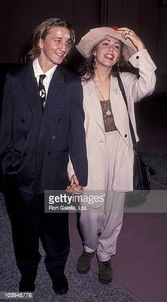 Actor Breckin Meyer and actress Lisa Rieffel attend the premiere of The Gambler Returns on October 14 1991 at the Academy Theater in Beverly Hills...