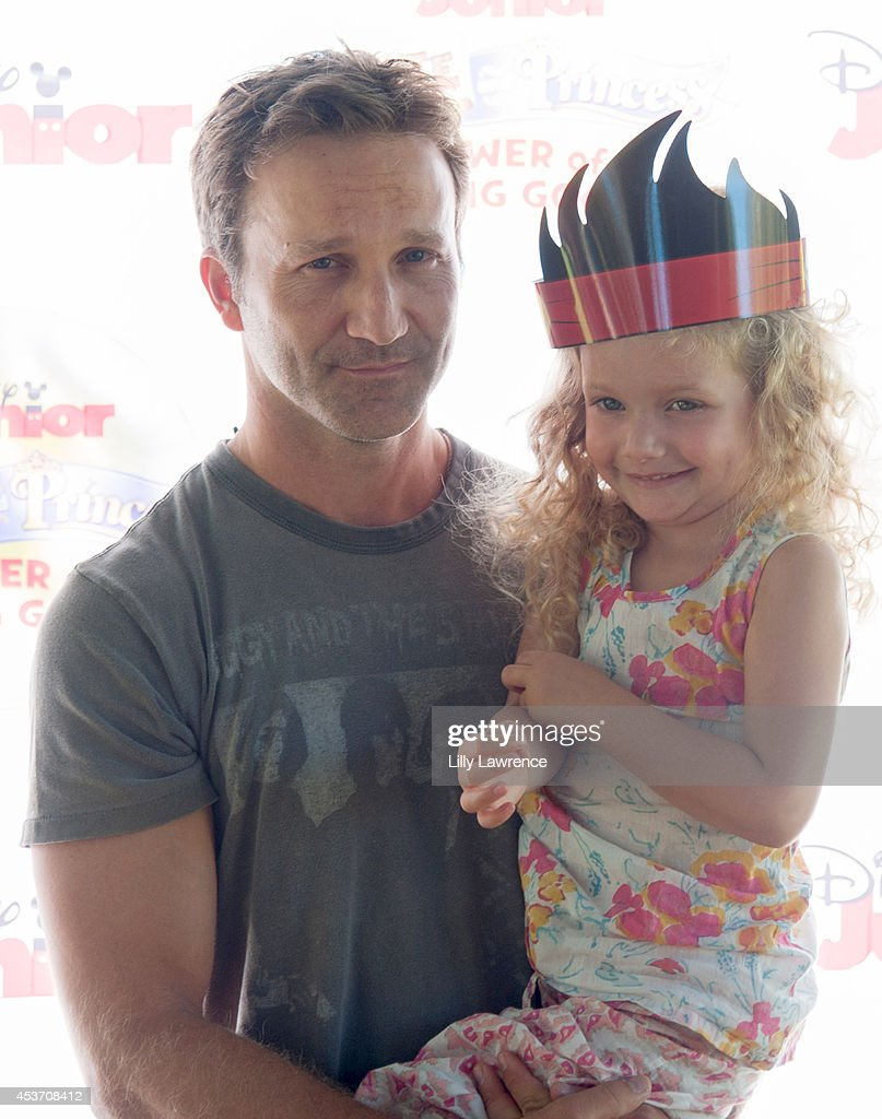 Actor Breckin Meyer arrives with his daughter at Disney Junior's 'Pirate And Princess: Power Of Doing Good' Tour Arrives In Los Angeles At Brookside Park at Brookside Park on August 16, 2014 in Pasadena, California.
