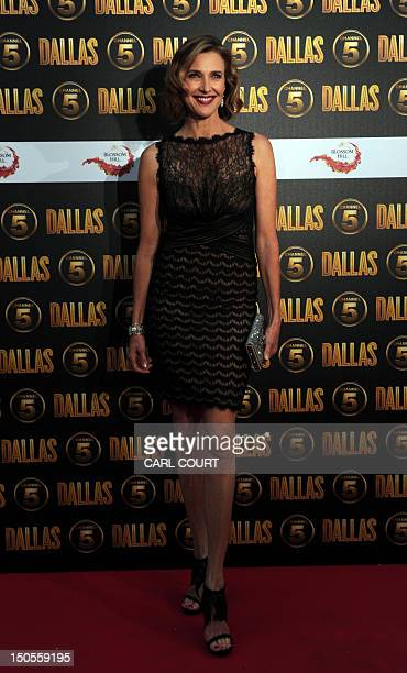 US actor Brenda Strong arrives on the red carpet to attend the launch of the new 10part series of US television show Dallas  in London on August 21...