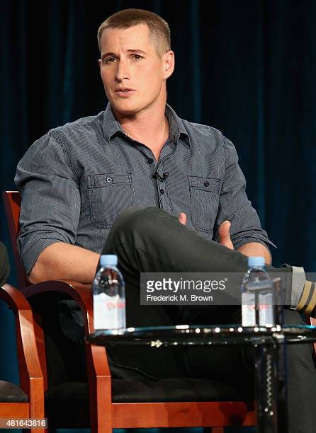 Actor Brendan Fehr speaks onstage during the 'The Night Shift' panel discussion at the NBC/Universal portion of the 2015 Winter TCA Tour at the...