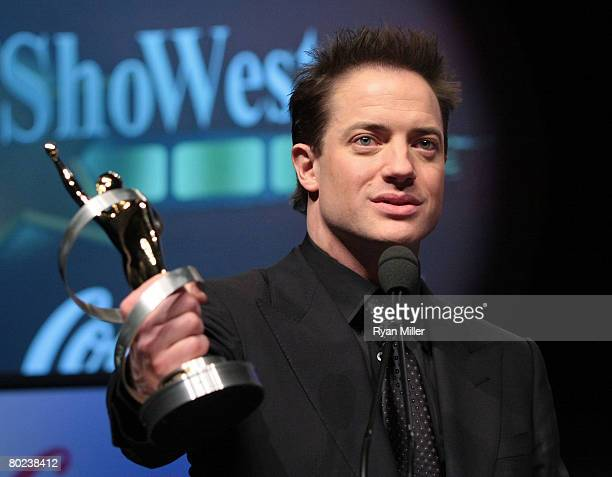 Actor Brendan Fraser accepts the Distinguished Decade of Achievement in Film Award onstage during the ShoWest awards ceremony held at the Paris Las...