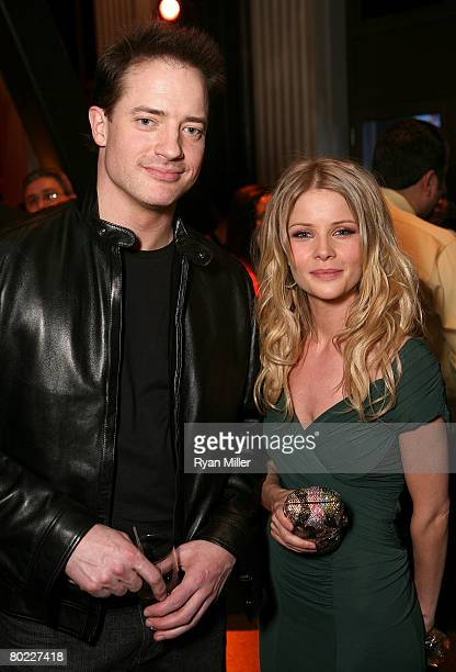 Actor Brendan Fraser and actress Anita Briem pose during the cocktail reception held at the Paris Las Vegas during ShoWest the official convention of...