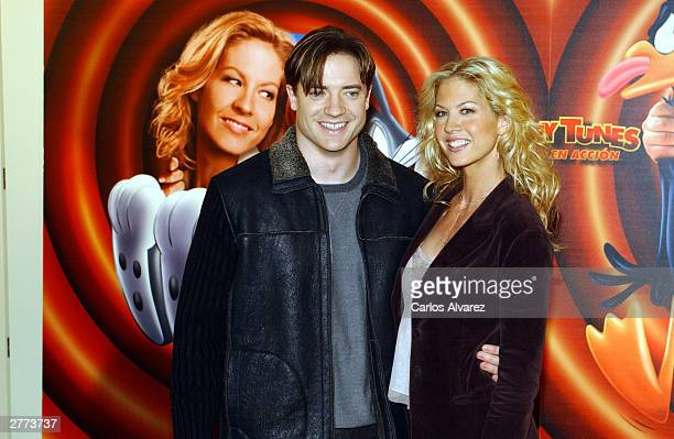 Actor Brendan Fraser and actress Jenna Elfman attend the promotional photocall for their new movie Looney Tunes Back In Action at Hotel Villamagna...