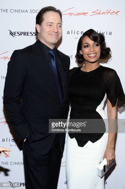 Actor Brendan Fraser and actress Rosario Dawson attend the 'Gimme Shelter' screening hosted by Roadside Attractions and Day 28 Films with The Cinema...