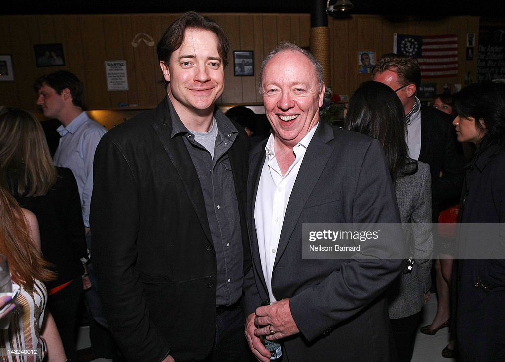 Actor Brendan Fraser (L) and director Terry George attend the Tribeca Film Festival 2012 After-Party for 'Whole Lotta Sole' at Anchor Bar on April 22, 2012 in New York City.