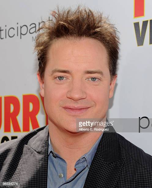 Actor Brendan Fraser arrives at the premiere of Summit Entertainment and Participant Media's Furry Vengeance at the Bruin Theatre on April 18 2010 in...