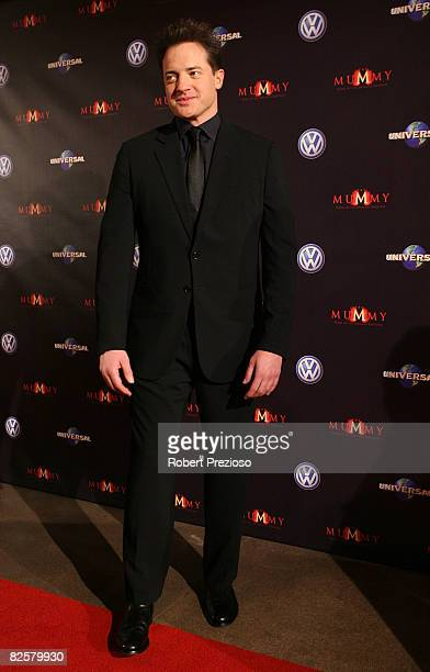 Actor Brendan Fraser arrives for the premiere of 'The Mummy' at the Hoyts Melbourne Central Cinemas on August 28 2008 in Melbourne Australia