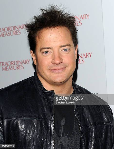 Actor Brendan Fraser attends the Cinema Society John And Aileen Crowley screening of Extraordinary Measures at the School of Visual Arts Theater on...