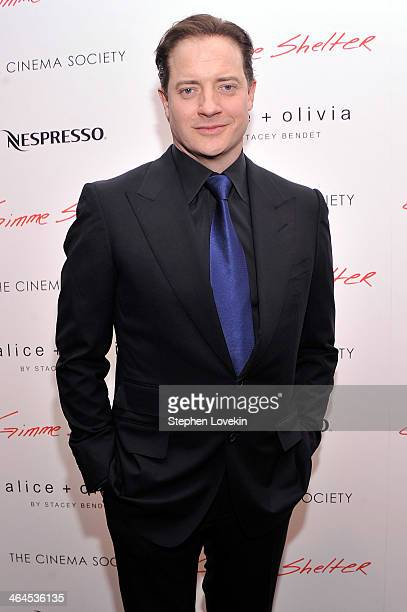 Actor Brendan Fraser attends the Gimme Shelter screening hosted by Roadside Attractions and Day 28 Films with The Cinema Society on January 22 2014...