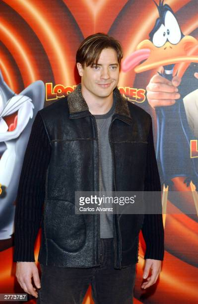 Actor Brendan Fraser attends the promotional photocall for his new movie Looney Tunes Back In Action at Hotel Villamagna December 1 2003 in Madrid...