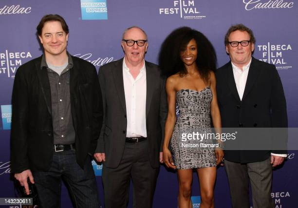 Actor Brendan Fraser director Terry George actress Yaya DaCosta and actor Colm Meaney walk the red carpet at the Whole Lotta Sole Premiere the 2012...