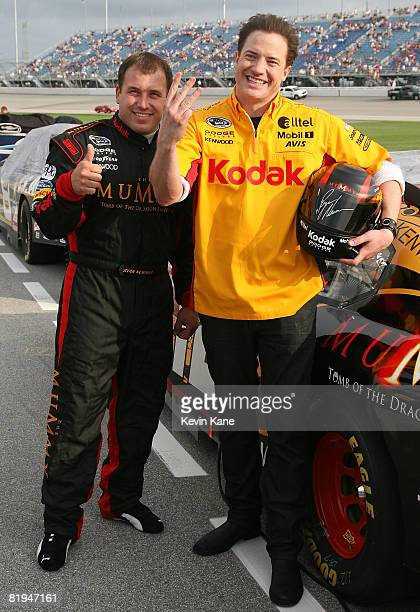 Actor Brendan Fraser poses with NASCAR driver Ryan Newman Newman's car carried The Mummy 3 paint scheme to promote Brendan Fraser's new movie Brendan...