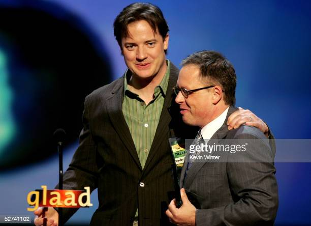 Actor Brendan Fraser presents Bill Condon with the Stephen F Kolzak Award during the 16th Annual GLAAD Media Awards at the Kodak Theater on April 30...
