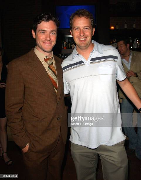 Actor Brendan Hines and producer Bryan Brucks attend the wrap party for the motion picture comedy Deep in the Valley at Winston's on August 5 2007 in...