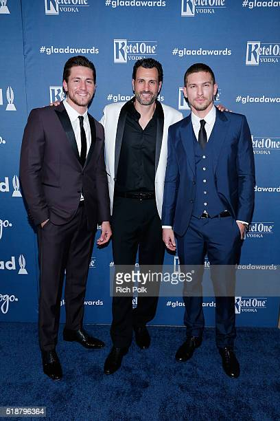 Actor Brent Antonello executive producer James LaRosa and actor Adam Senn attend the 27th Annual GLAAD Media Awards hosted by Ketel One Vodka at the...