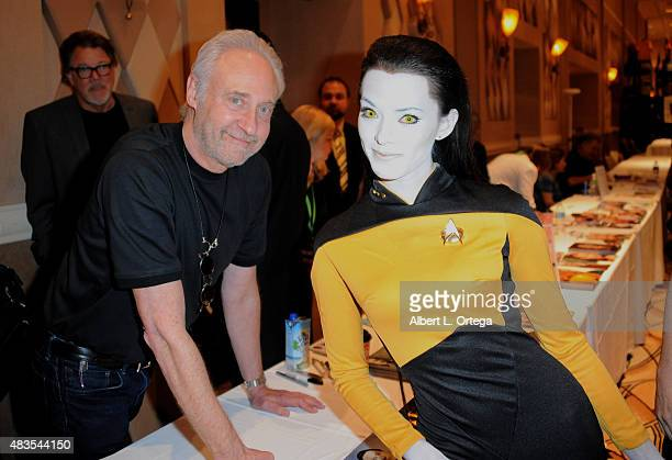 Actor Brent Spiner with Cosplayer Joanie Brosas as Lt Commander Data from 'Star Trek The Next Generation' at the 14th annual official Star Trek...