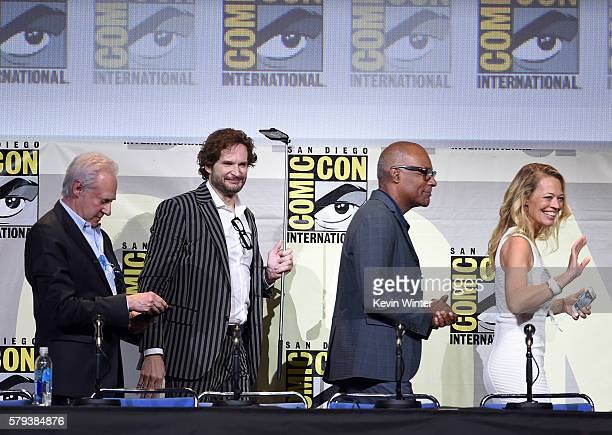 Actor Brent Spiner writer/producer Bryan Fuller actors Michael Dorn and Jeri Ryan attend the 'Star Trek' panel during ComicCon International 2016 at...