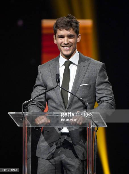 Actor Brenton Thwaites accepts the Breakthrough Performer of the Year Award during the CinemaCon Big Screen Achievement Awards brought to you by the...