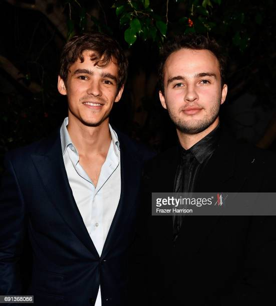 Actor Brenton Thwaites and 2017 Heath Ledger Scholarship Recipient Mojean Aria attend the 9th Annual Australians In Film Heath Ledger Scholarship...
