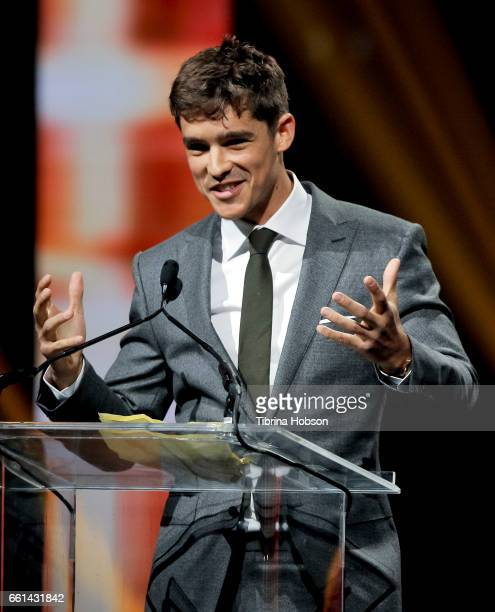 Actor Brenton Thwaites recipient of the Breakthrough Performer of the Year Award speaks onstage at the CinemaCon Big Screen Achievement Awards at The...