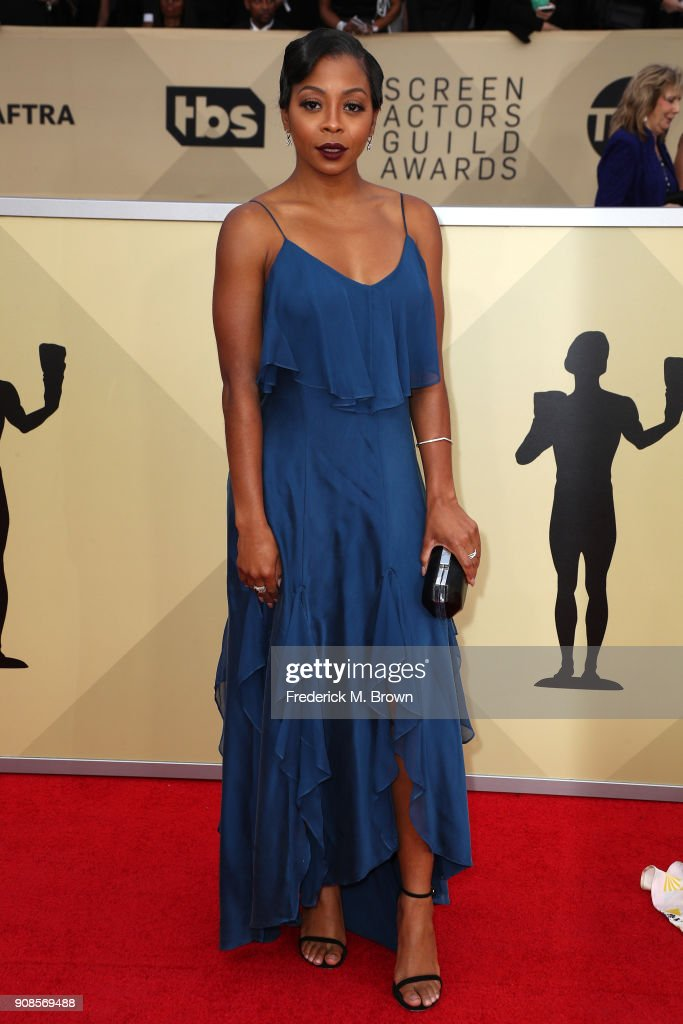 Actor Bresha Webb attends the 24th Annual Screen Actors Guild Awards at The Shrine Auditorium on January 21, 2018 in Los Angeles, California. 27522_017