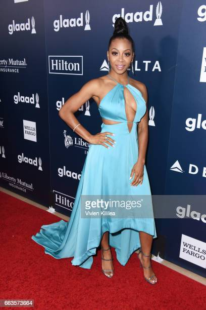 Actor Bresha Webb attends the 28th Annual GLAAD Media Awards in LA at The Beverly Hilton Hotel on April 1 2017 in Beverly Hills California