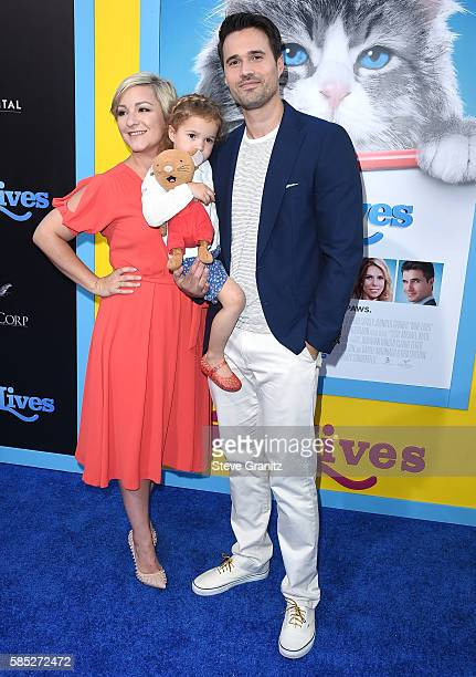 Actor Brett Dalton Melissa Trn and daughter Sylvia Dalton arrives at the Premiere Of EuropaCorp's 'Nine Lives' at TCL Chinese Theatre on August 1...