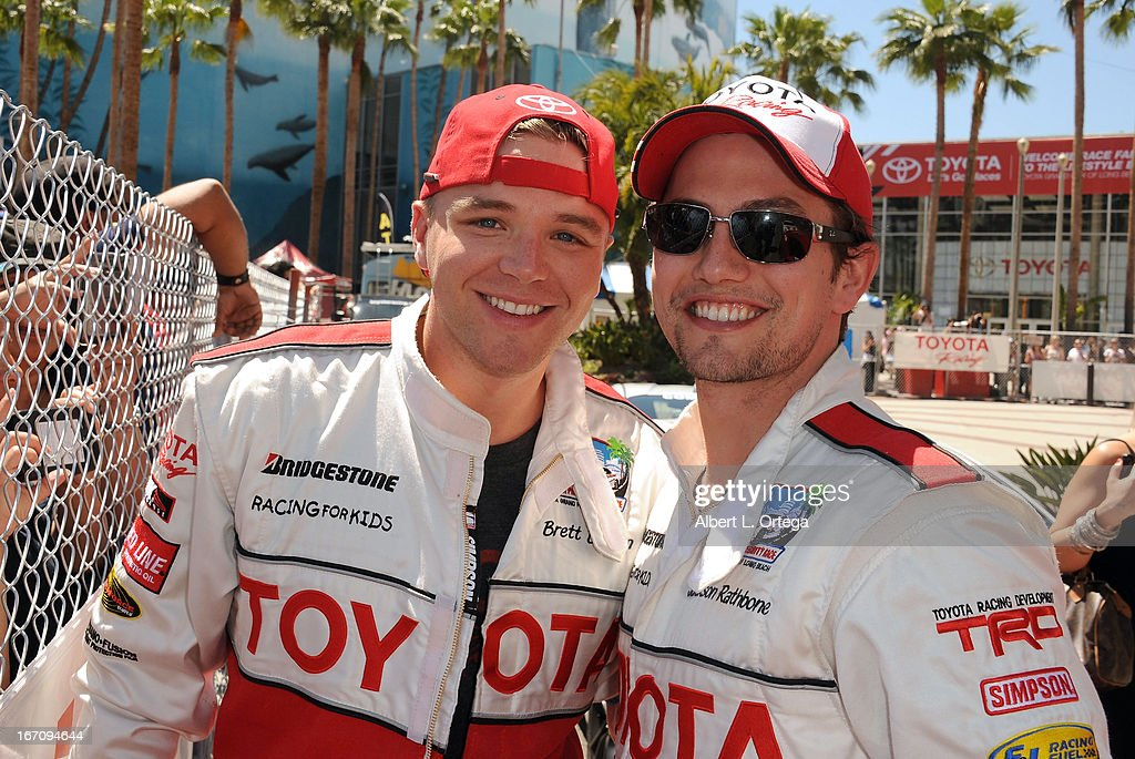 Actor Brett Davern and actor Jackson Rathbone participate in the 37th Annual Toyota Pro/Celebrity Race - Qualifying Day held on April 19, 2013 in Long Beach, California.