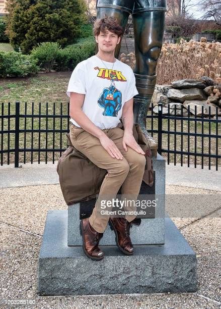 Actor Brett Dier of the ABCTV comedy show Schooled is seen posing with The Rocky Statue at The Philadelphia Museum of Art on January 31 2020 in...
