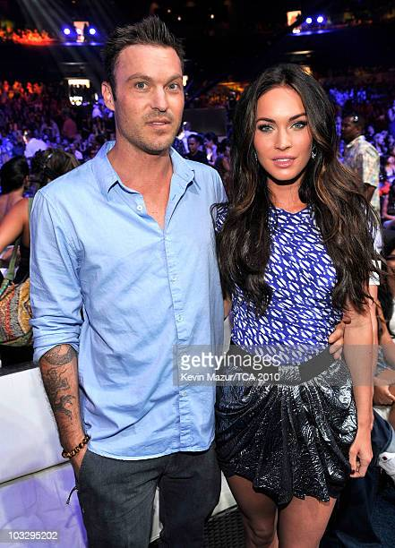 Actor Brian Austin Green and actress Megan Fox attend the 2010 Teen Choice Awards at Gibson Amphitheatre on August 8 2010 in Universal City California