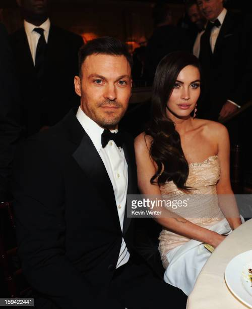 Actor Brian Austin Green and actress Megan Fox attend the 70th Annual Golden Globe Awards Cocktail Party held at The Beverly Hilton Hotel on January...