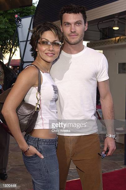 """Actor Brian Austin Green and his date arrive at the world premiere of Paramount Pictures'' """"Lara Croft: Tomb Raider"""" June 11 at the Mann Village..."""