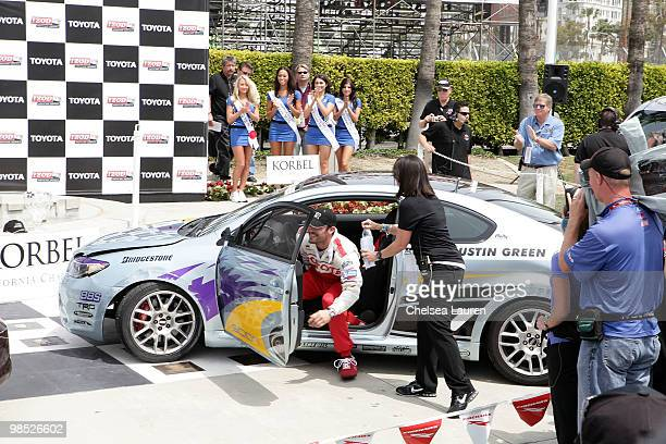 Actor Brian Austin Green pulls into the winner's circle at the Toyota Grand Prix Pro / Celebrity Race Day on April 17 2010 in Long Beach California