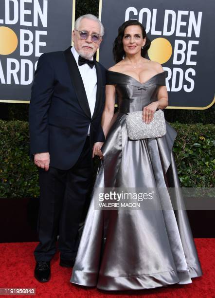 Actor Brian Cox and Nicole Ansari arrive for the 77th annual Golden Globe Awards on January 5 at The Beverly Hilton hotel in Beverly Hills,...